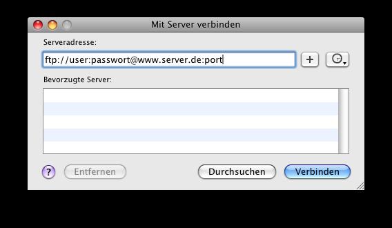 Eingabefenster für die Serveradresse